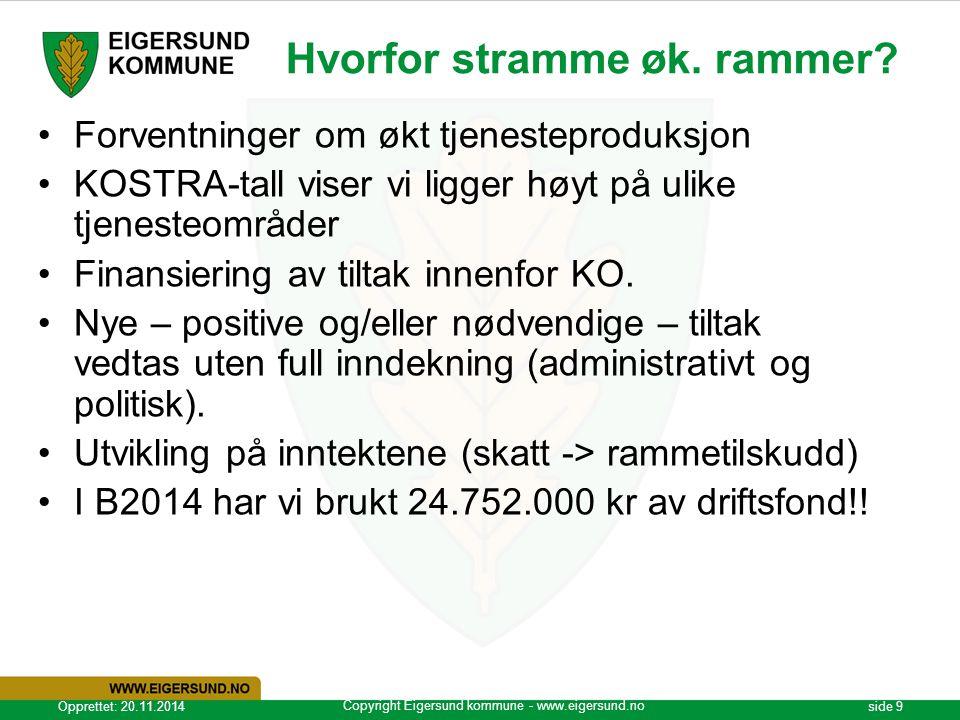 Copyright Eigersund kommune - www.eigersund.no Opprettet: 20.11.2014side 9 Hvorfor stramme øk. rammer? Forventninger om økt tjenesteproduksjon KOSTRA-