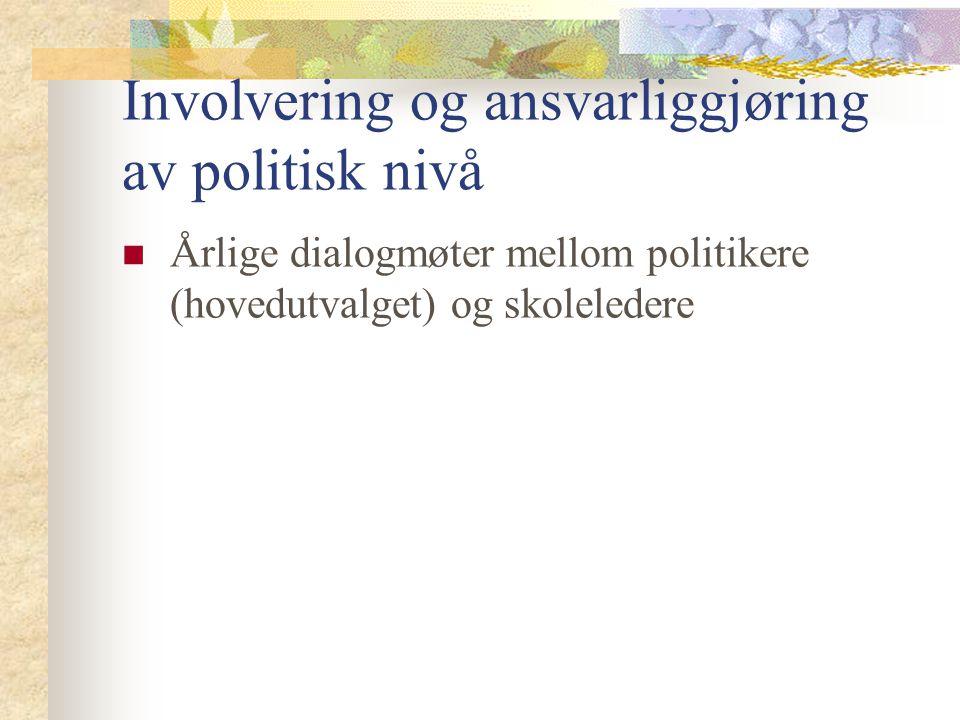 Involvering og ansvarliggjøring av politisk nivå Årlige dialogmøter mellom politikere (hovedutvalget) og skoleledere
