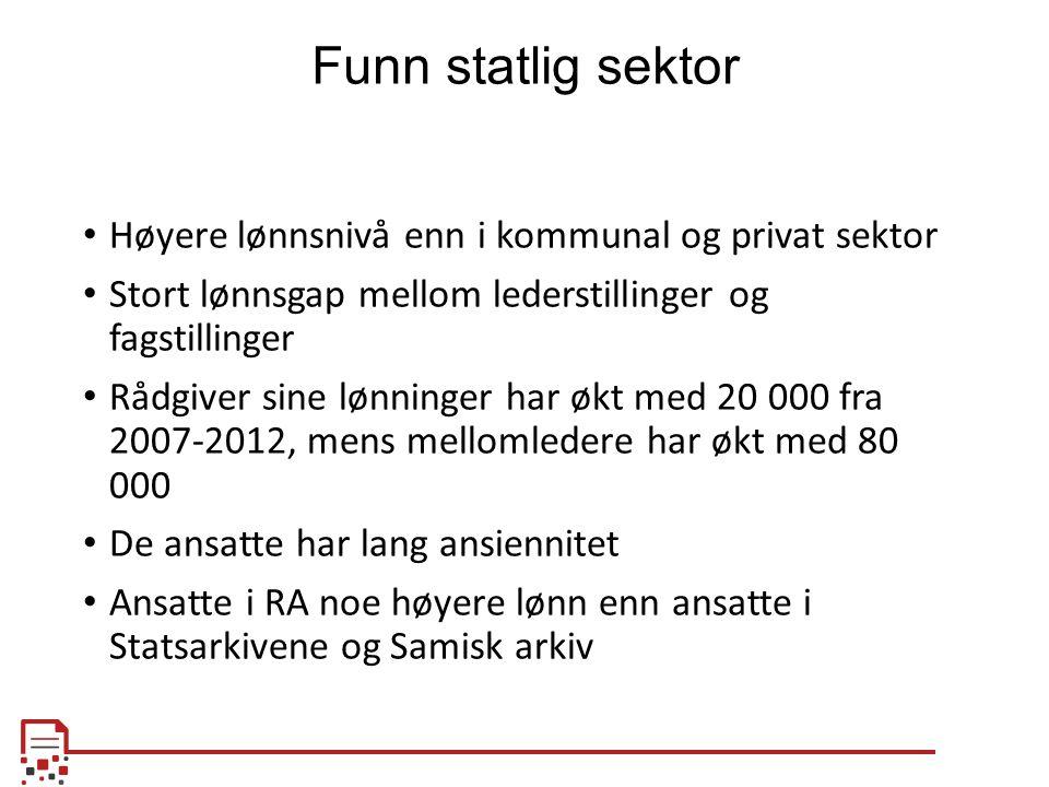 Funn statlig sektor Høyere lønnsnivå enn i kommunal og privat sektor Stort lønnsgap mellom lederstillinger og fagstillinger Rådgiver sine lønninger ha