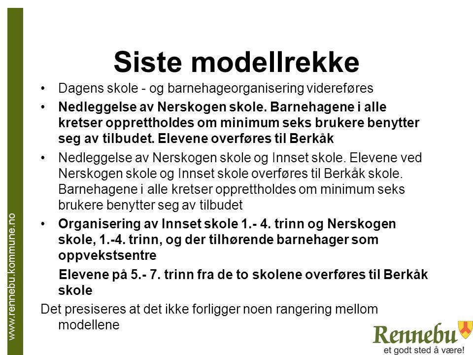 Siste modellrekke Dagens skole - og barnehageorganisering videreføres Nedleggelse av Nerskogen skole. Barnehagene i alle kretser opprettholdes om mini