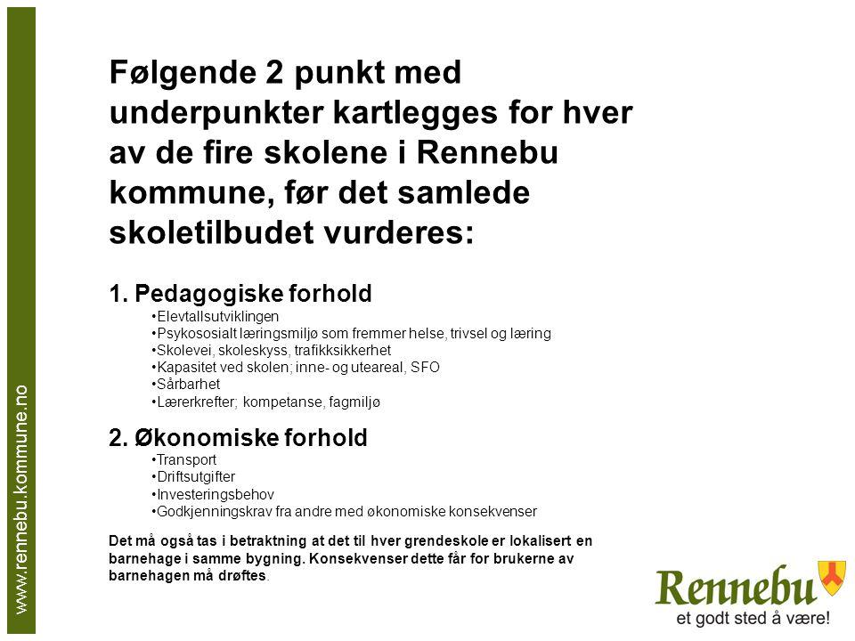 Følgende 2 punkt med underpunkter kartlegges for hver av de fire skolene i Rennebu kommune, før det samlede skoletilbudet vurderes: 1.