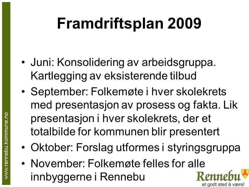 Framdriftsplan 2009 Juni: Konsolidering av arbeidsgruppa. Kartlegging av eksisterende tilbud September: Folkemøte i hver skolekrets med presentasjon a