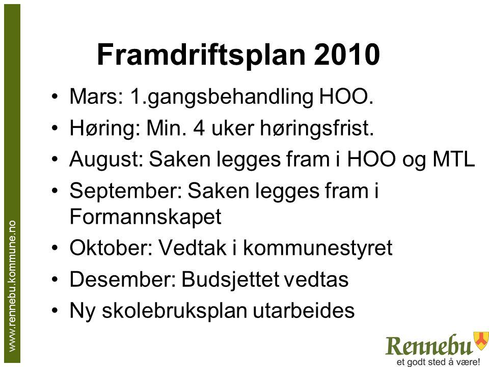 Framdriftsplan 2010 Mars: 1.gangsbehandling HOO. Høring: Min.