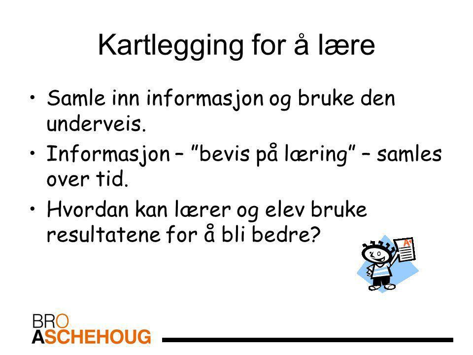 """Kartlegging for å lære Samle inn informasjon og bruke den underveis. Informasjon – """"bevis på læring"""" – samles over tid. Hvordan kan lærer og elev bruk"""