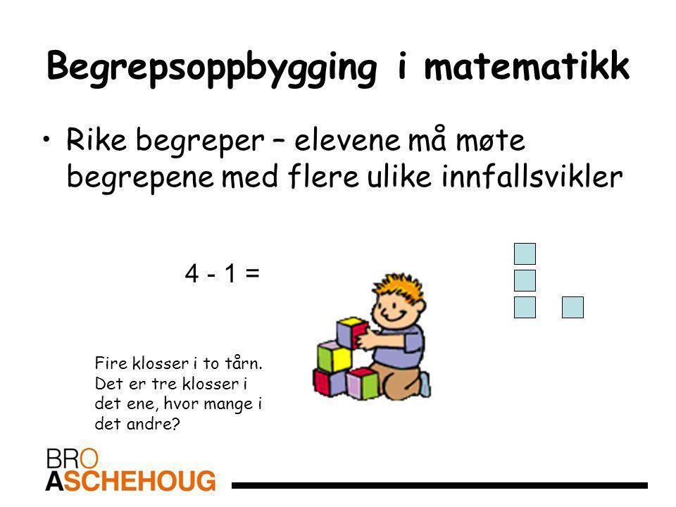 Begrepsoppbygging i matematikk Rike begreper – elevene må møte begrepene med flere ulike innfallsvikler 4 - 1 = Fire klosser i to tårn. Det er tre klo