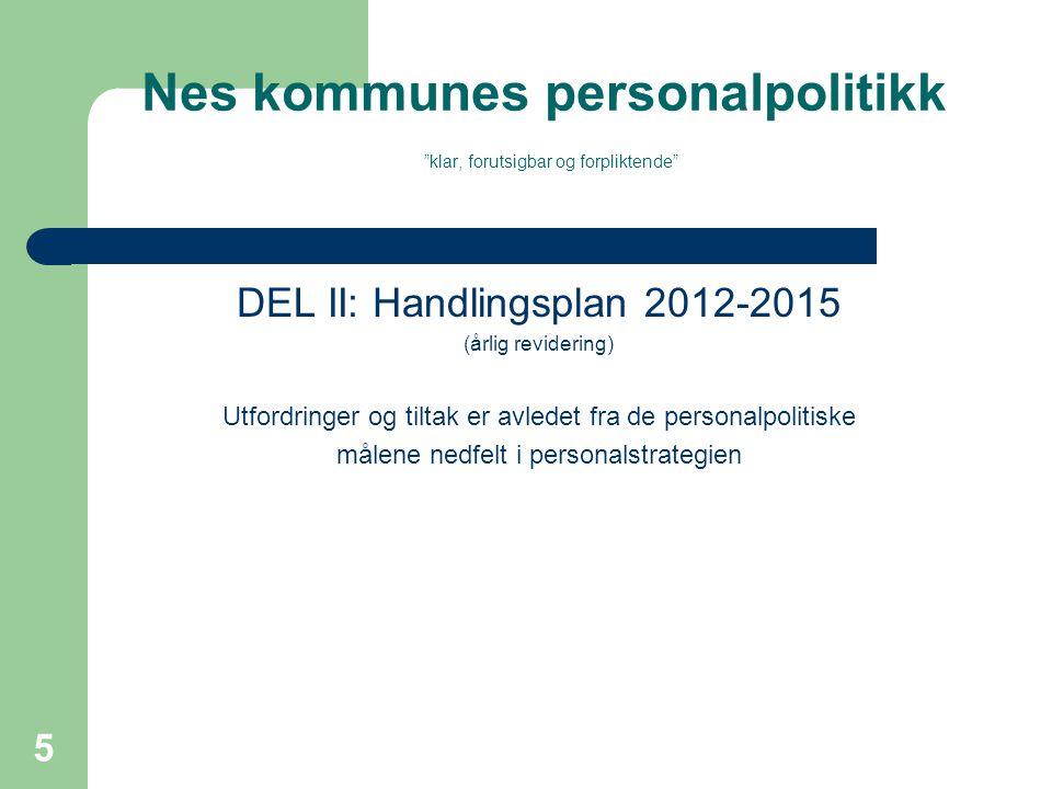 Nes kommunes personalpolitikk klar, forutsigbar og forpliktende DEL II: Handlingsplan 2012-2015 (årlig revidering) Utfordringer og tiltak er avledet fra de personalpolitiske målene nedfelt i personalstrategien 5