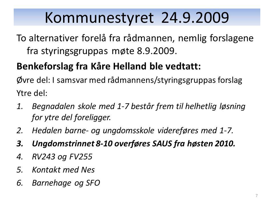 Kommunestyret 24.9.2009 To alternativer forelå fra rådmannen, nemlig forslagene fra styringsgruppas møte 8.9.2009.
