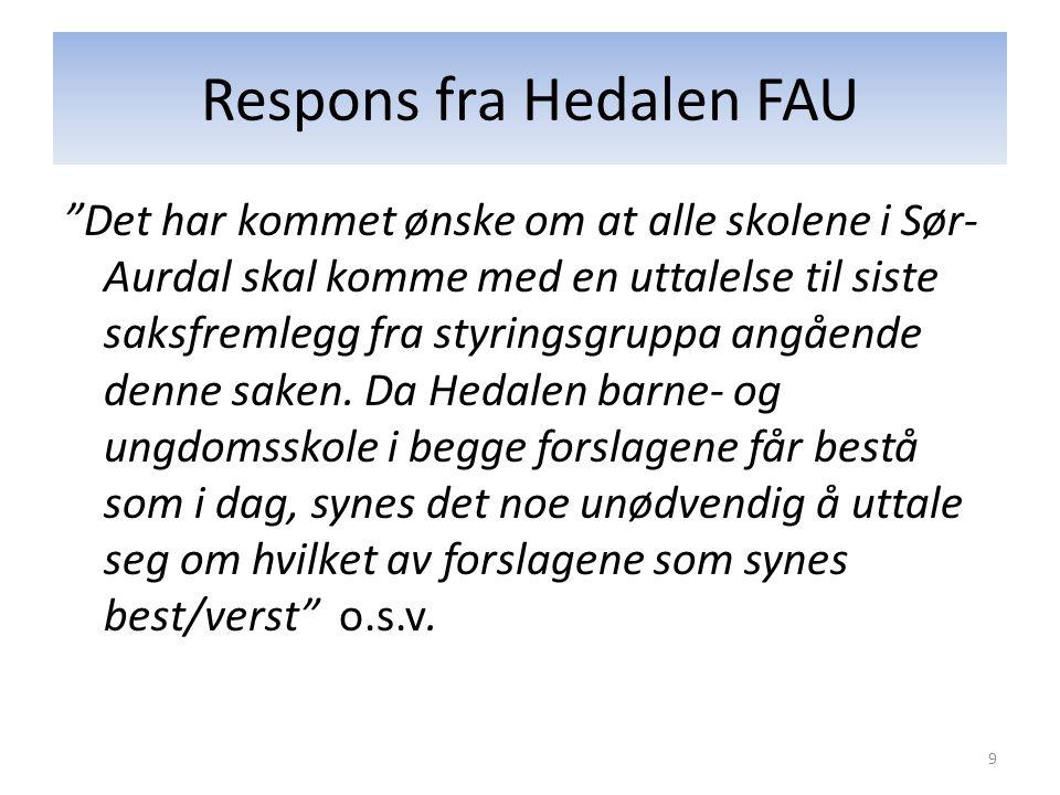 Respons fra Hedalen FAU Det har kommet ønske om at alle skolene i Sør- Aurdal skal komme med en uttalelse til siste saksfremlegg fra styringsgruppa angående denne saken.