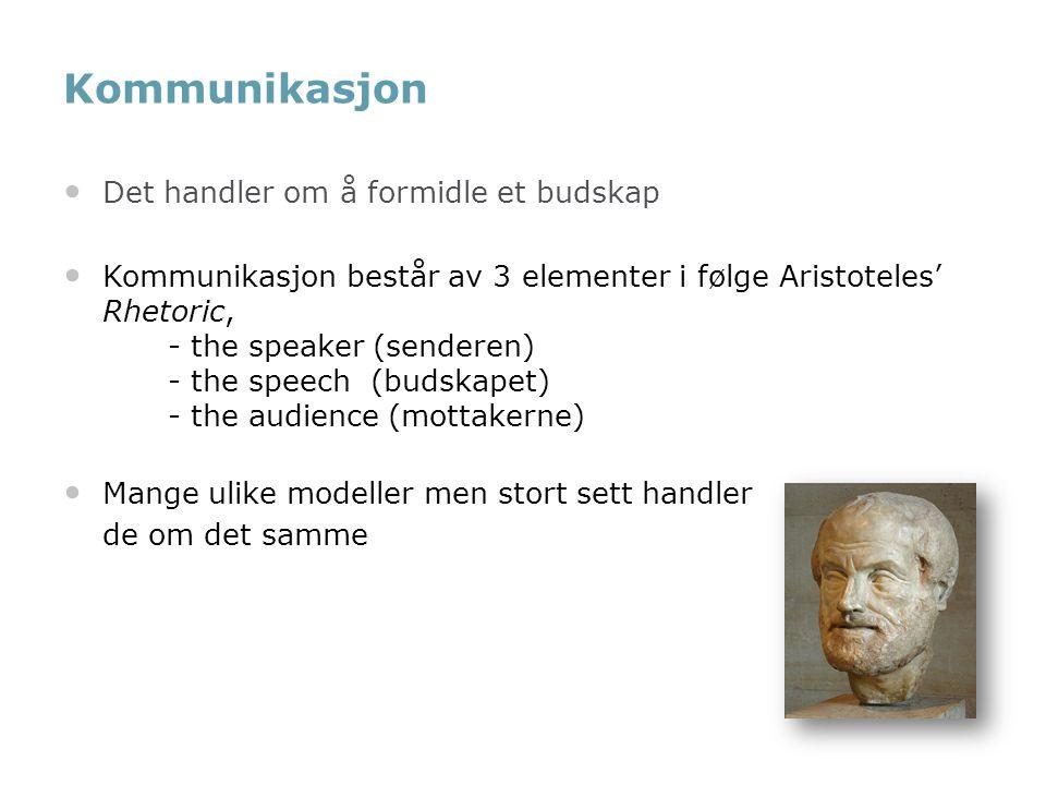 Kommunikasjon Det handler om å formidle et budskap Kommunikasjon består av 3 elementer i følge Aristoteles' Rhetoric, - the speaker (senderen) - the s