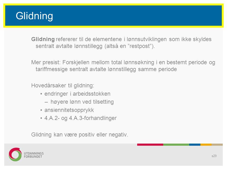 """s29 Glidning Glidning refererer til de elementene i lønnsutviklingen som ikke skyldes sentralt avtalte lønnstillegg (altså en """"restpost""""). Mer presist"""