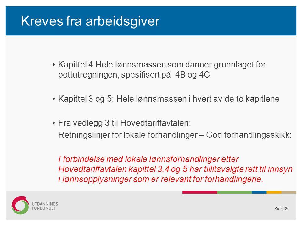 Kreves fra arbeidsgiver Kapittel 4 Hele lønnsmassen som danner grunnlaget for pottutregningen, spesifisert på 4B og 4C Kapittel 3 og 5: Hele lønnsmassen i hvert av de to kapitlene Fra vedlegg 3 til Hovedtariffavtalen: Retningslinjer for lokale forhandlinger – God forhandlingsskikk: I forbindelse med lokale lønnsforhandlinger etter Hovedtariffavtalen kapittel 3,4 og 5 har tillitsvalgte rett til innsyn i lønnsopplysninger som er relevant for forhandlingene.