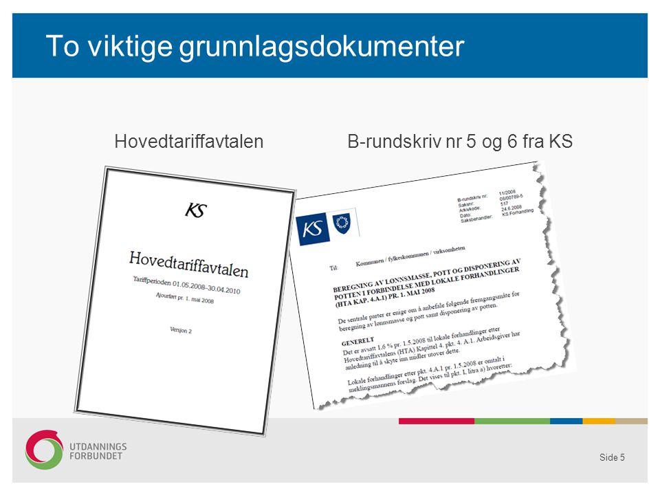 To viktige grunnlagsdokumenter Side 5 Hovedtariffavtalen B-rundskriv nr 5 og 6 fra KS