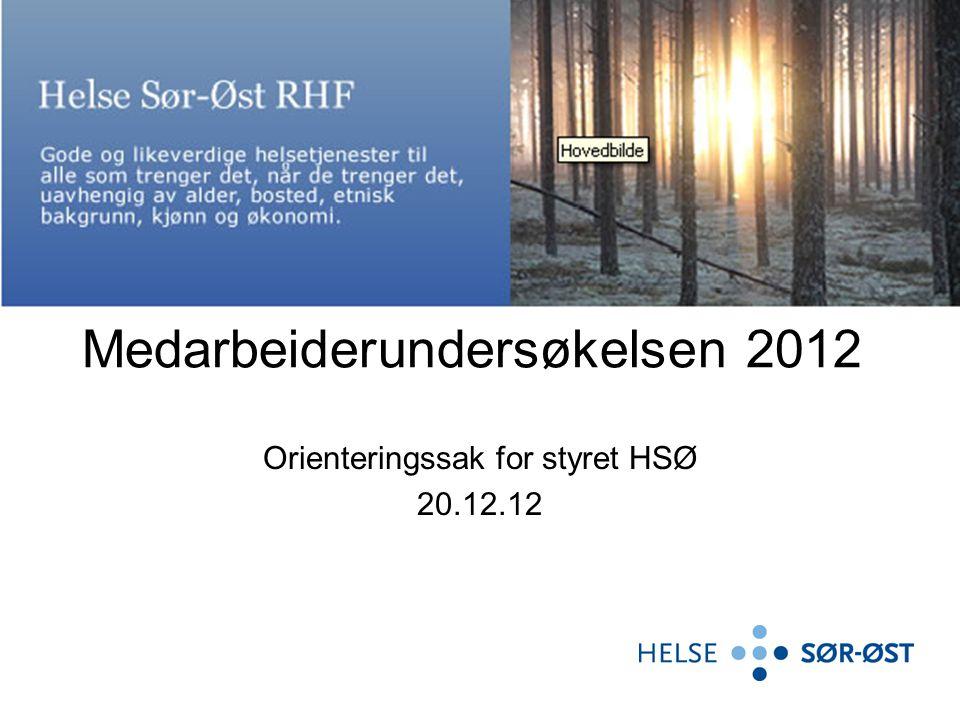 Medarbeiderundersøkelsen 2012 Orienteringssak for styret HSØ 20.12.12