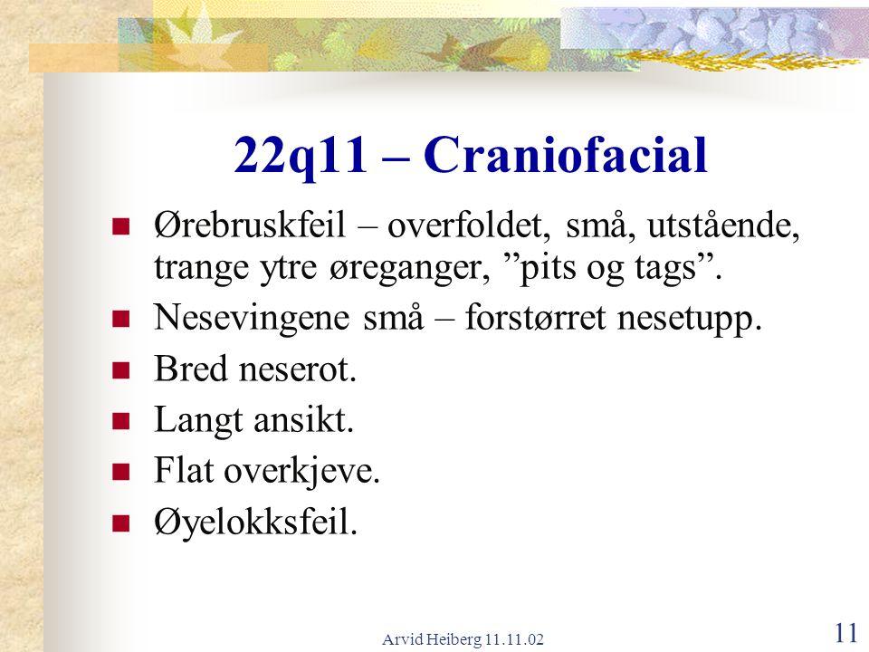 """Arvid Heiberg 11.11.02 11 22q11 – Craniofacial Ørebruskfeil – overfoldet, små, utstående, trange ytre øreganger, """"pits og tags"""". Nesevingene små – for"""