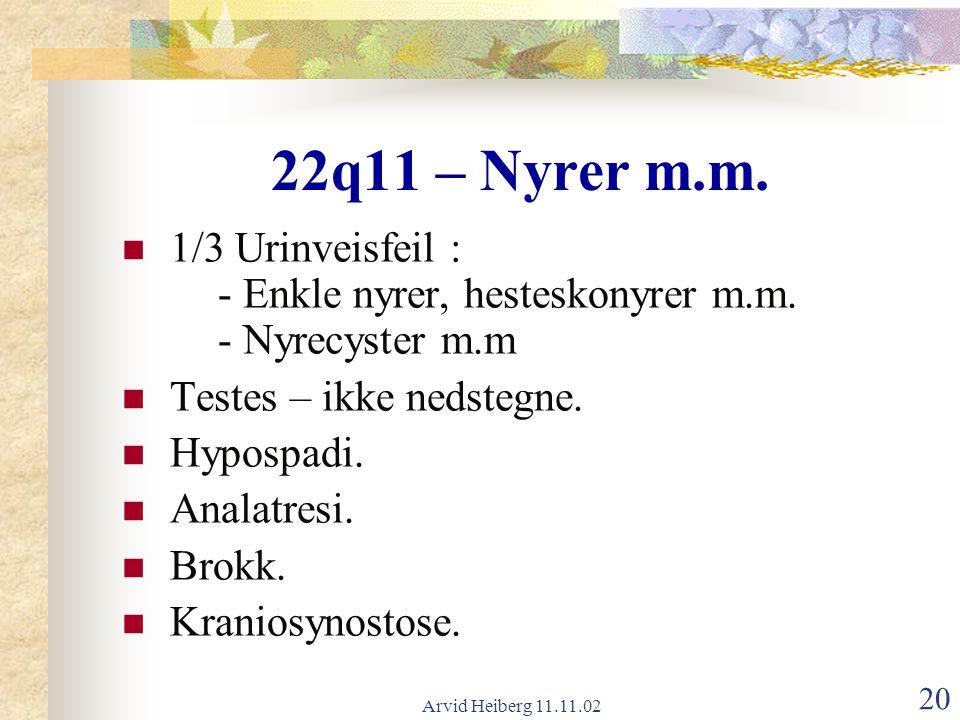 Arvid Heiberg 11.11.02 20 22q11 – Nyrer m.m. 1/3 Urinveisfeil : - Enkle nyrer, hesteskonyrer m.m. - Nyrecyster m.m Testes – ikke nedstegne. Hypospadi.