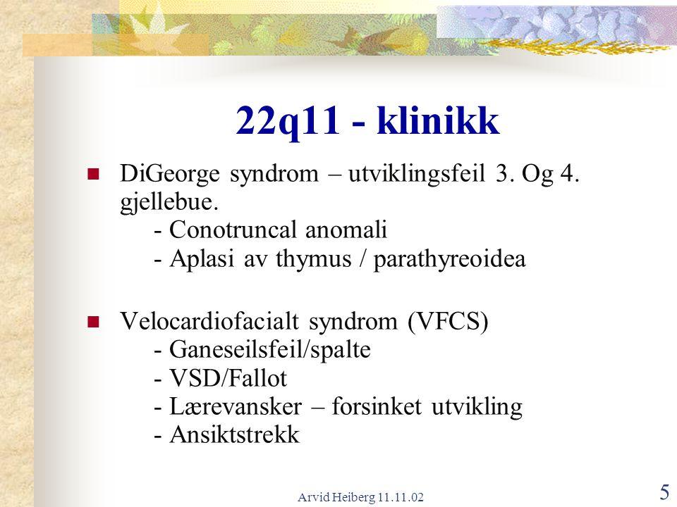 Arvid Heiberg 11.11.02 6 22q11 – Pasientkilder (Philadelphia) n = 250 (M=F) Med.