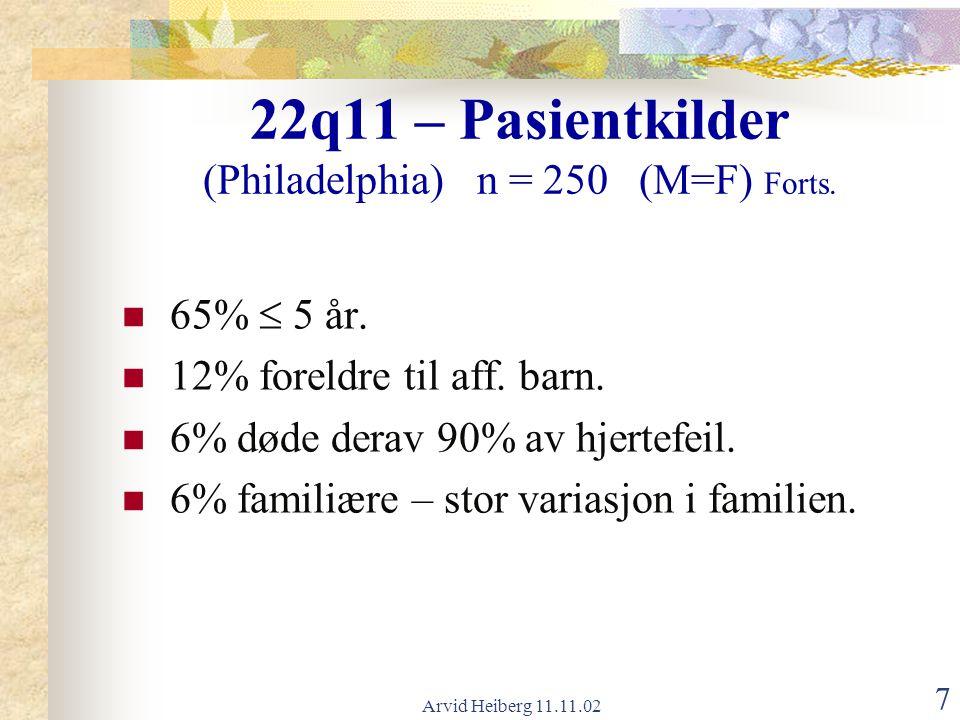 Arvid Heiberg 11.11.02 7 22q11 – Pasientkilder (Philadelphia) n = 250 (M=F) Forts. 65%  5 år. 12% foreldre til aff. barn. 6% døde derav 90% av hjerte