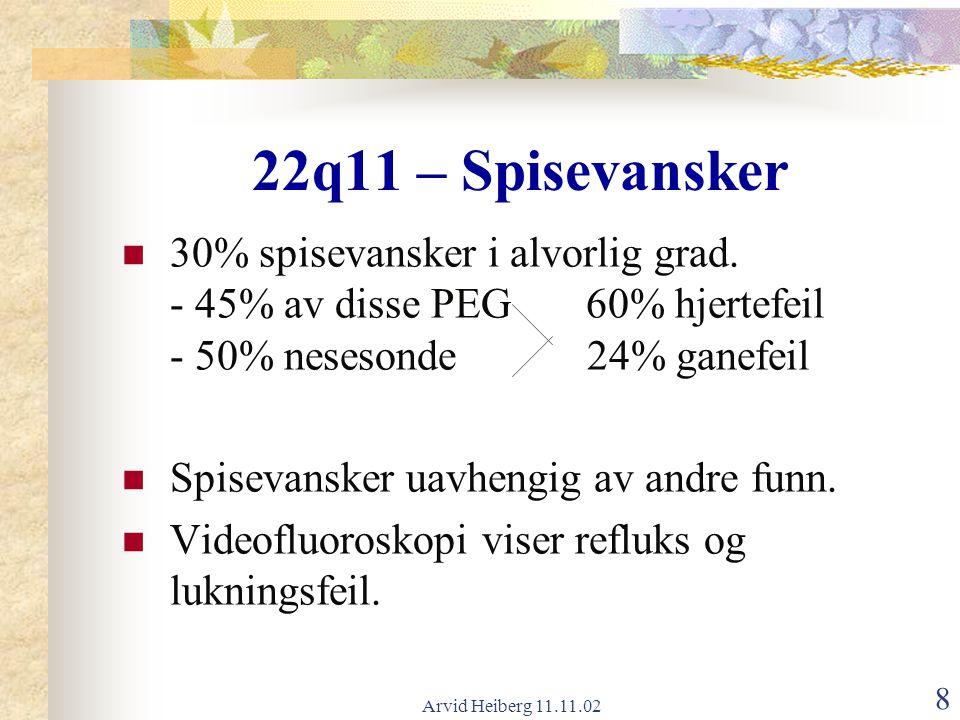 Arvid Heiberg 11.11.02 8 22q11 – Spisevansker 30% spisevansker i alvorlig grad. - 45% av disse PEG 60% hjertefeil - 50% nesesonde 24% ganefeil Spiseva