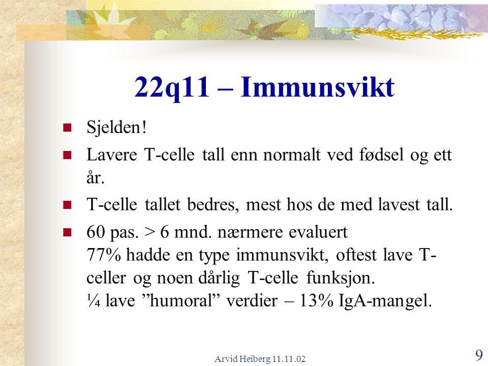 Arvid Heiberg 11.11.02 9 Sjelden! Lavere T-celle tall enn normalt ved fødsel og ett år. T-celle tallet bedres, mest hos de med lavest tall. 60 pas. >
