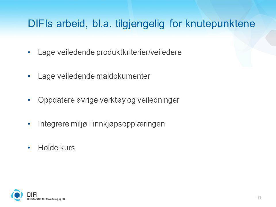 11 DIFIs arbeid, bl.a. tilgjengelig for knutepunktene Lage veiledende produktkriterier/veiledere Lage veiledende maldokumenter Oppdatere øvrige verktø