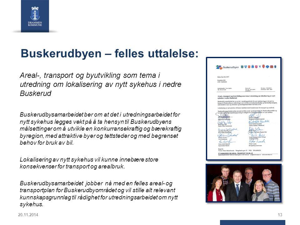 Buskerudbyen – felles uttalelse: Areal-, transport og byutvikling som tema i utredning om lokalisering av nytt sykehus i nedre Buskerud Buskerudbysama