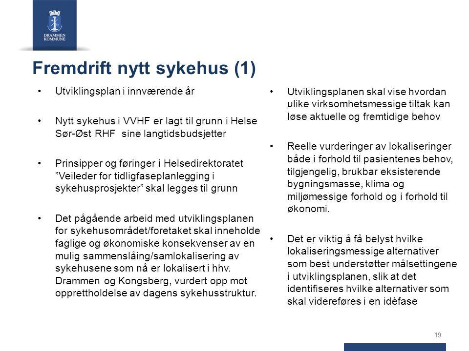 Fremdrift nytt sykehus (1) Utviklingsplan i innværende år Nytt sykehus i VVHF er lagt til grunn i Helse Sør-Øst RHF sine langtidsbudsjetter Prinsipper