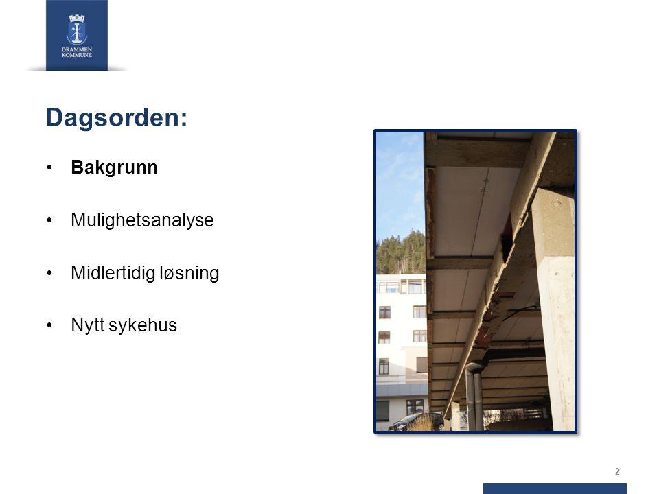 Drammen sykehus har byforankring fra 1887 Eldste bygg ved Drammen sykehus er fra 1887 Påbygg og endringer siden Høyblokka 1979 Reguleringsplan 1973/75: 90 mål til sykehusformål Reguleringsplan 2001: 60 mål Mulighetsanalysen 2011: 100 mål 3