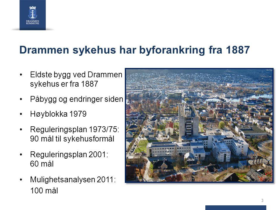 Drammen sykehus har byforankring fra 1887 Eldste bygg ved Drammen sykehus er fra 1887 Påbygg og endringer siden Høyblokka 1979 Reguleringsplan 1973/75