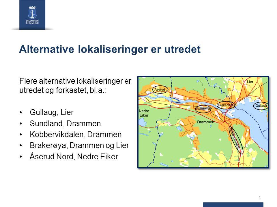Alternative lokaliseringer er utredet Flere alternative lokaliseringer er utredet og forkastet, bl.a.: Gullaug, Lier Sundland, Drammen Kobbervikdalen, Drammen Brakerøya, Drammen og Lier Åserud Nord, Nedre Eiker 4