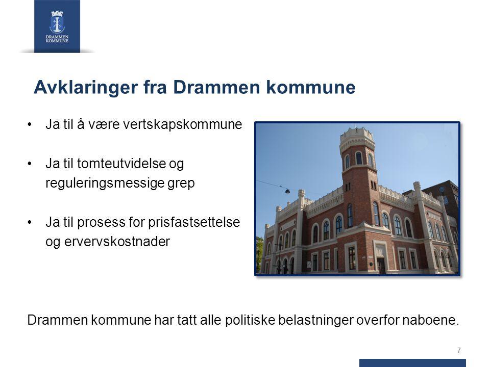 Avklaringer fra Drammen kommune Ja til å være vertskapskommune Ja til tomteutvidelse og reguleringsmessige grep Ja til prosess for prisfastsettelse og