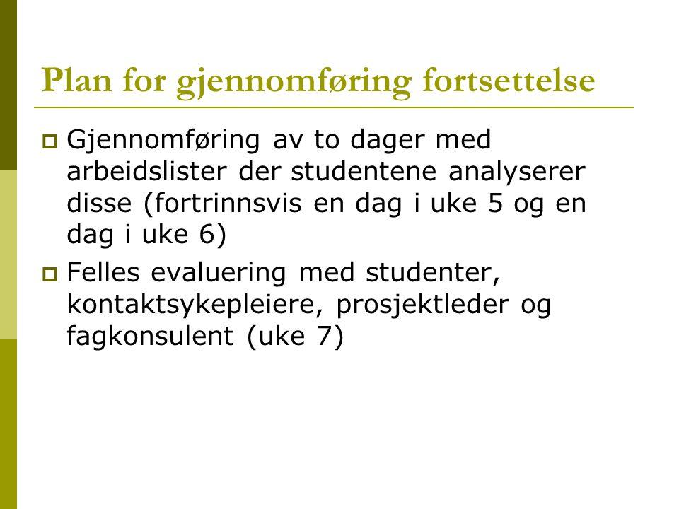 Plan for gjennomføring fortsettelse  Gjennomføring av to dager med arbeidslister der studentene analyserer disse (fortrinnsvis en dag i uke 5 og en d