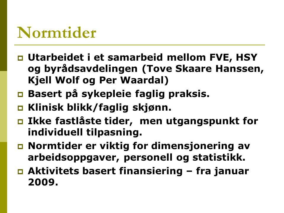Normtider  Utarbeidet i et samarbeid mellom FVE, HSY og byrådsavdelingen (Tove Skaare Hanssen, Kjell Wolf og Per Waardal)  Basert på sykepleie faglig praksis.