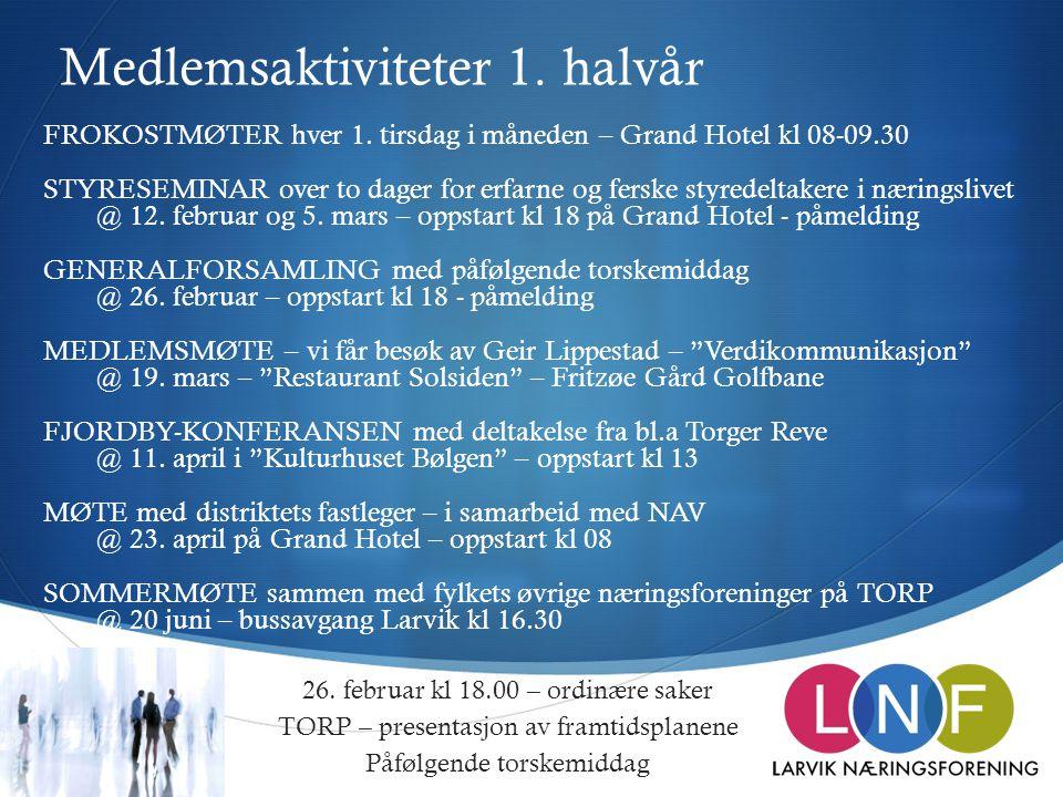  Medlemsaktiviteter 1. halvår 26. februar kl 18.00 – ordinære saker TORP – presentasjon av framtidsplanene Påfølgende torskemiddag FROKOSTMØTER hver