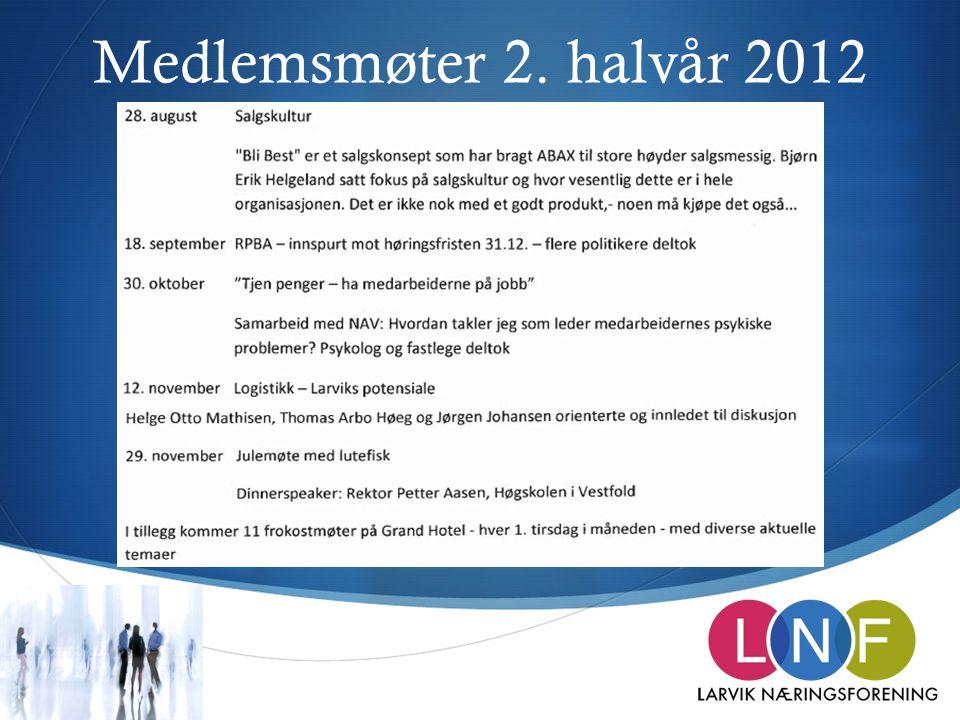 Medlemsmøter 2. halvår 2012