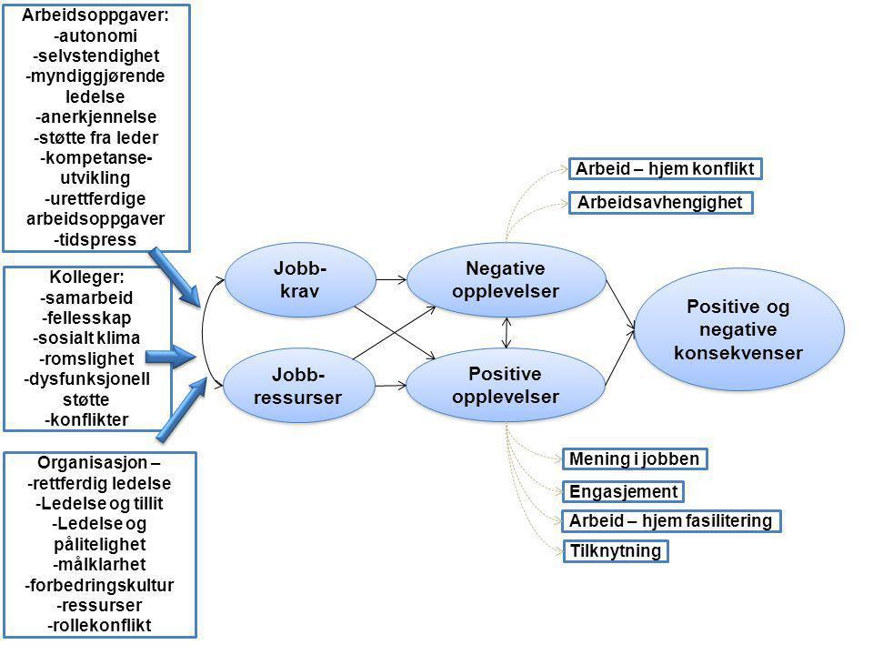 Jobb- krav Jobb- krav Jobb- ressurser Positive opplevelser Negative opplevelser Positive og negative konsekvenser Arbeidsoppgaver:  autonomi  selvst