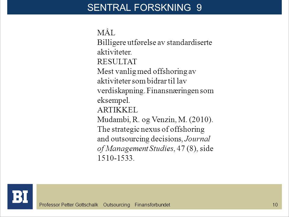 Professor Petter Gottschalk Outsourcing Finansforbundet 10 MÅL Billigere utførelse av standardiserte aktiviteter. RESULTAT Mest vanlig med offshoring