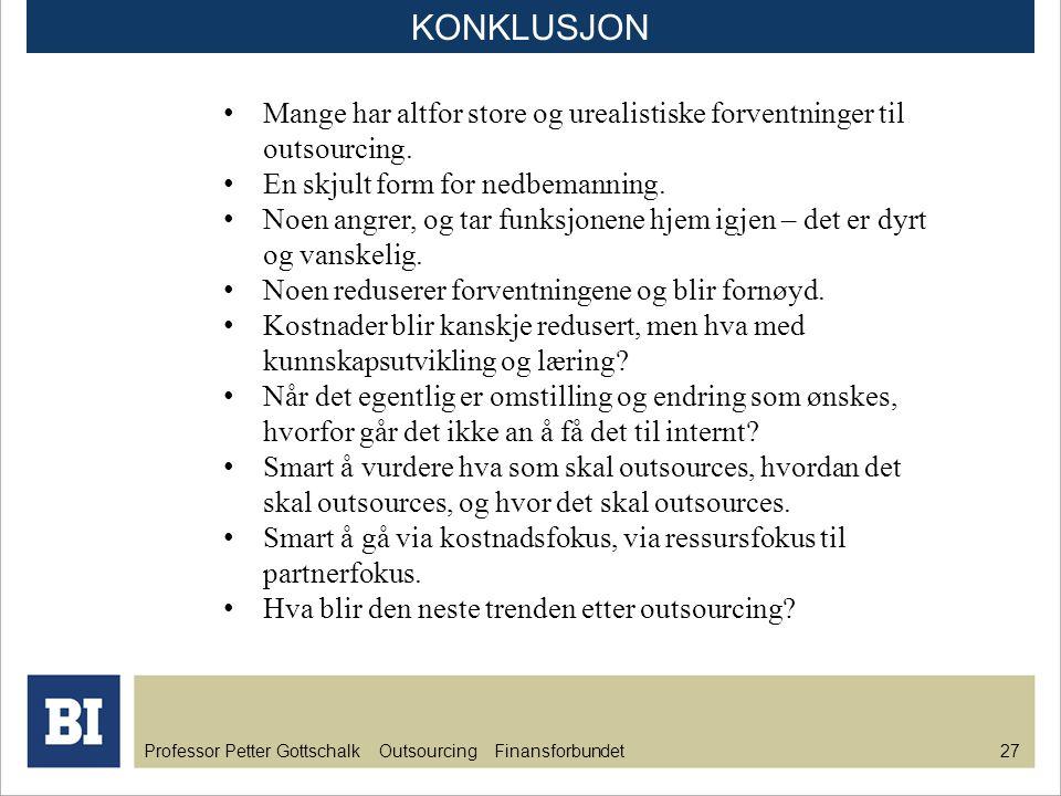 Professor Petter Gottschalk Outsourcing Finansforbundet 28 KONKLUSJON Intern stabsfunksjon Intern servicefunksjon Outsourcet funksjon Offshoret funksjon Backsourcet funksjon Nettskyen Modenhetsnivå 1990 2000 2010 2020 2030