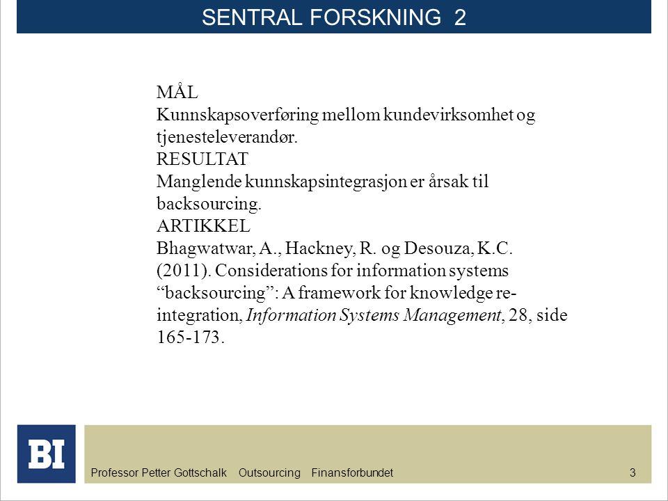 Professor Petter Gottschalk Outsourcing Finansforbundet 3 MÅL Kunnskapsoverføring mellom kundevirksomhet og tjenesteleverandør. RESULTAT Manglende kun