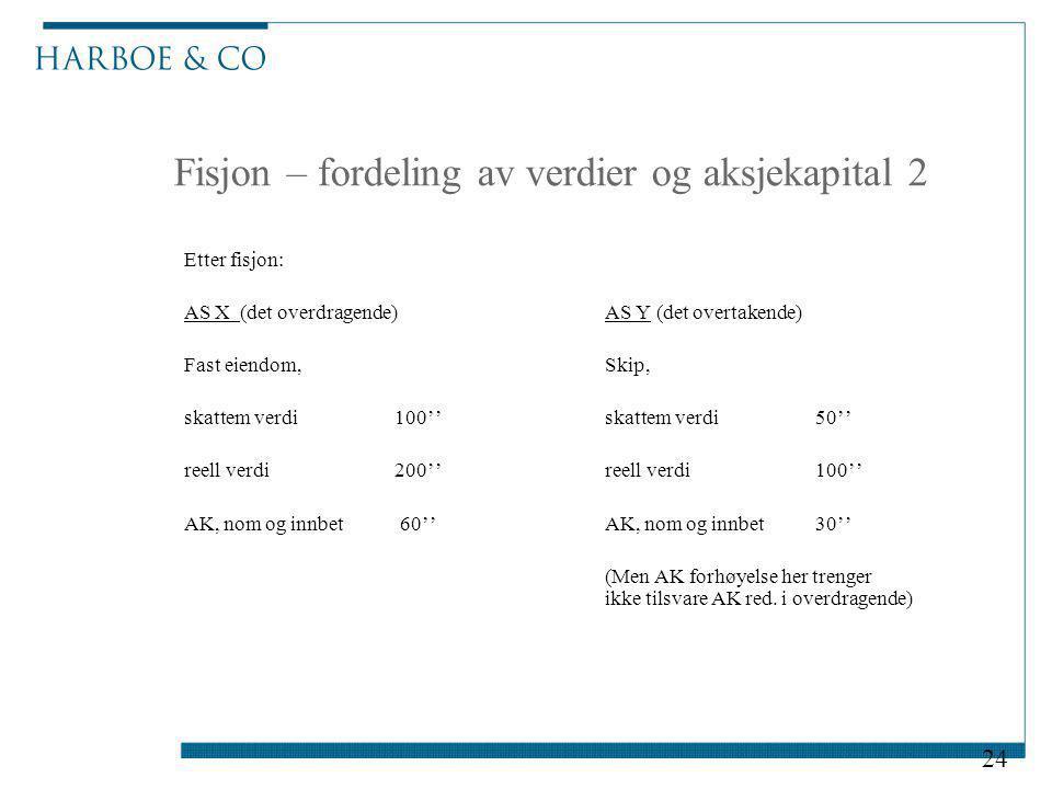 Fisjon – fordeling av verdier og aksjekapital 2 Etter fisjon: AS X (det overdragende)AS Y (det overtakende) Fast eiendom, Skip, skattem verdi 100'' sk