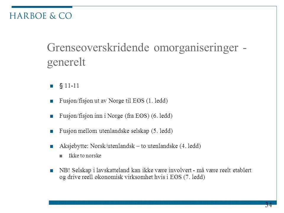 Grenseoverskridende omorganiseringer - generelt ■§ 11-11 ■Fusjon/fisjon ut av Norge til EØS (1. ledd) ■Fusjon/fisjon inn i Norge (fra EØS) (6. ledd) ■