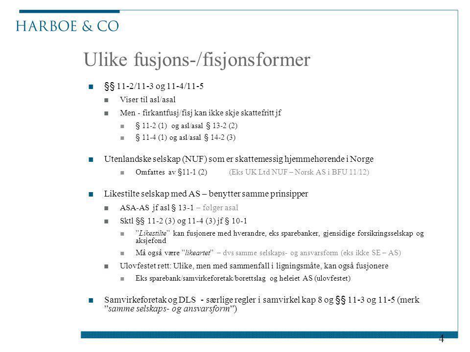 Ulike fusjons-/fisjonsformer ■§§ 11-2/11-3 og 11-4/11-5 ■Viser til asl/asal ■Men - firkantfusj/fisj kan ikke skje skattefritt jf ■§ 11-2 (1) og asl/as