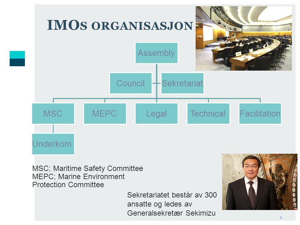6 IMO S ORGANISASJON Assembly MSC Underkom.