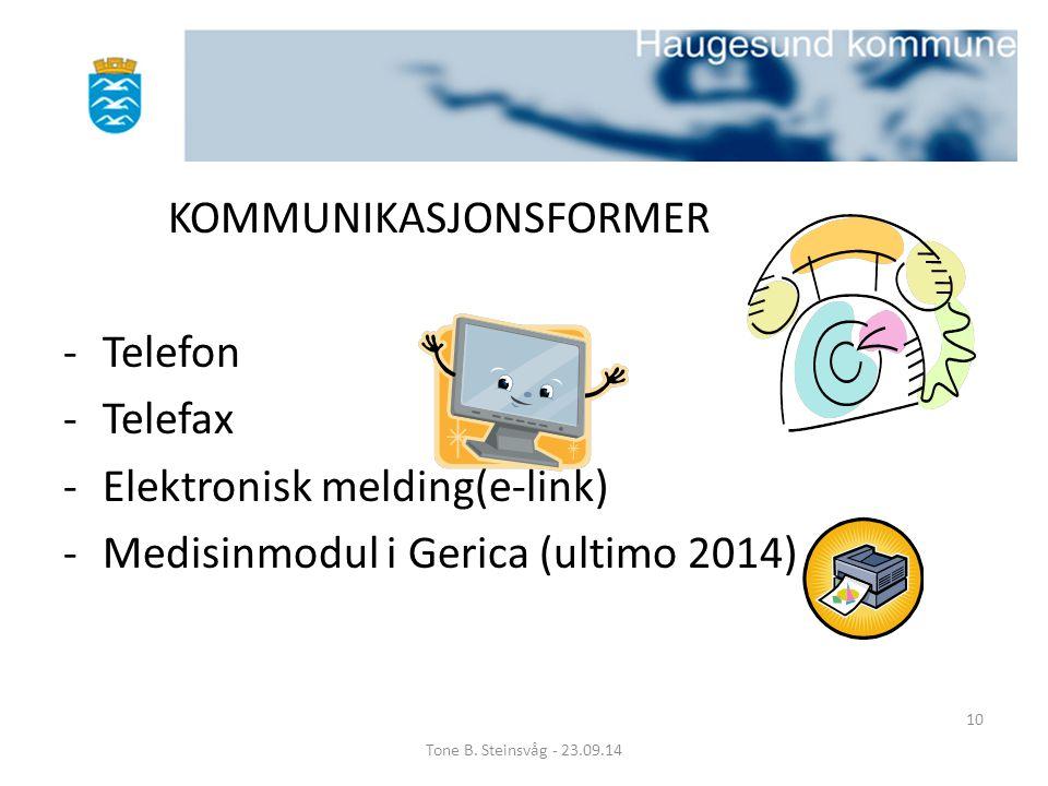 KOMMUNIKASJONSFORMER -Telefon -Telefax -Elektronisk melding(e-link) -Medisinmodul i Gerica (ultimo 2014) Tone B. Steinsvåg - 23.09.14 10
