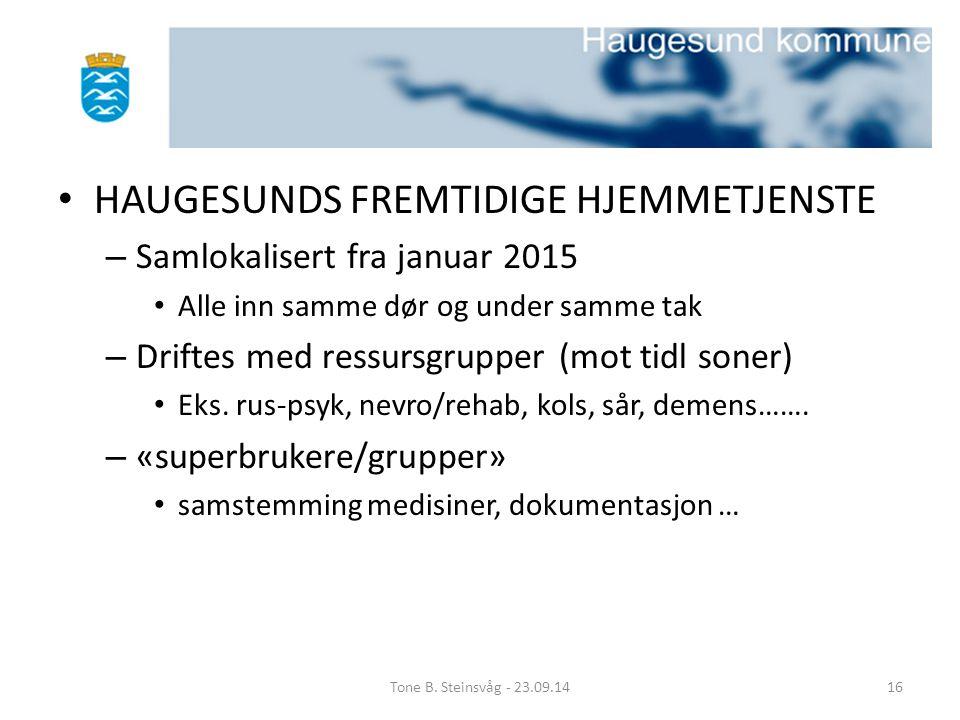 HAUGESUNDS FREMTIDIGE HJEMMETJENSTE – Samlokalisert fra januar 2015 Alle inn samme dør og under samme tak – Driftes med ressursgrupper (mot tidl soner
