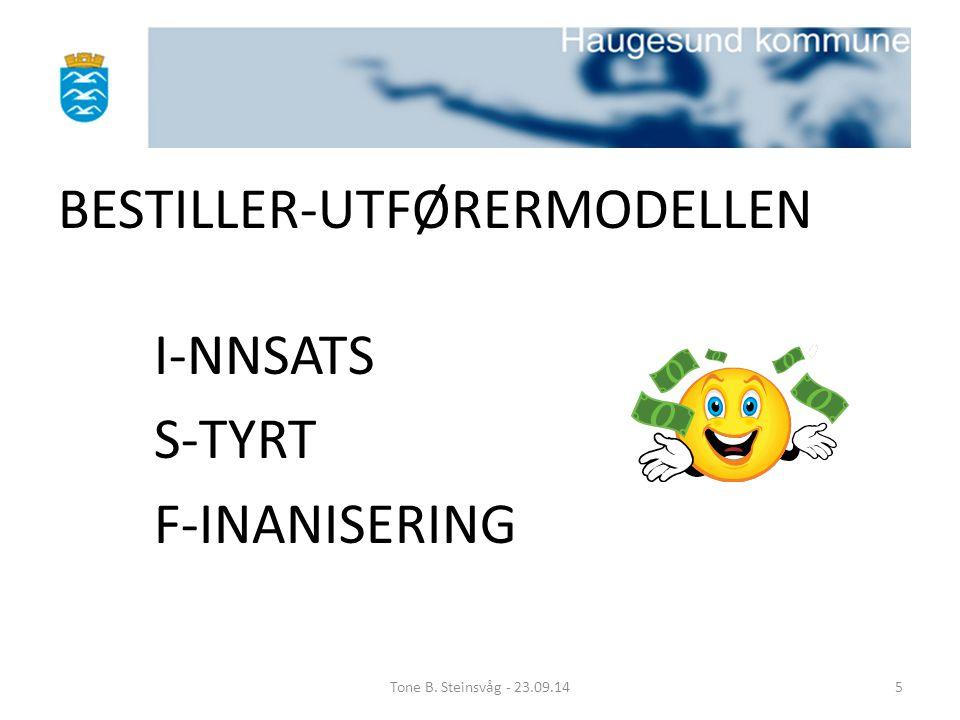 BESTILLER-UTFØRERMODELLEN I-NNSATS S-TYRT F-INANISERING Tone B. Steinsvåg - 23.09.145