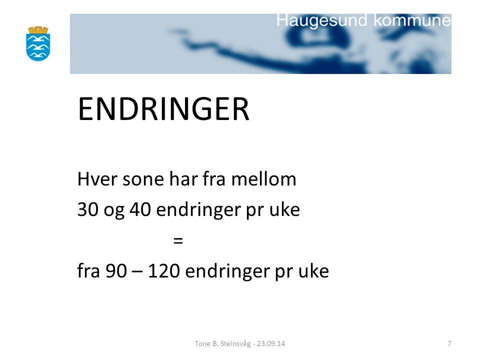 ENDRINGER Hver sone har fra mellom 30 og 40 endringer pr uke = fra 90 – 120 endringer pr uke Tone B. Steinsvåg - 23.09.147