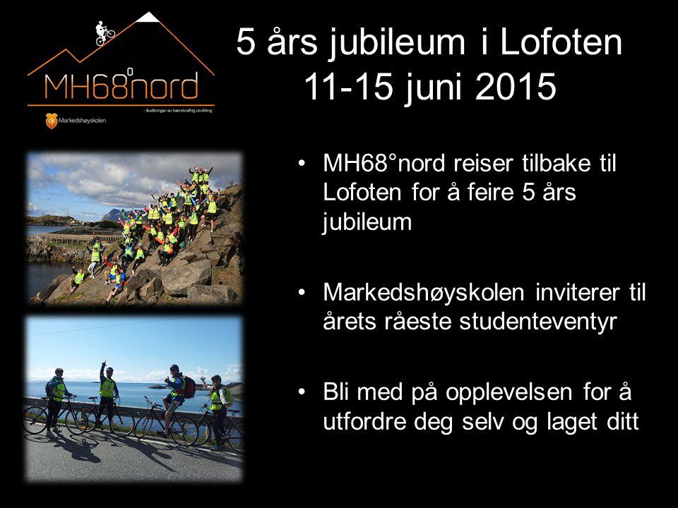 5 års jubileum i Lofoten 11-15 juni 2015 MH68°nord reiser tilbake til Lofoten for å feire 5 års jubileum Markedshøyskolen inviterer til årets råeste studenteventyr Bli med på opplevelsen for å utfordre deg selv og laget ditt