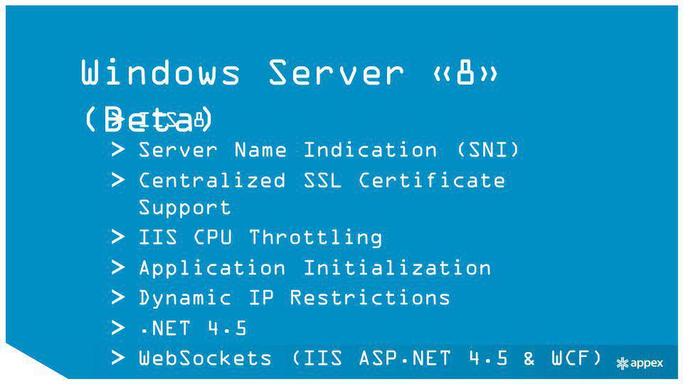 Windows 8 WinRT JS, C++, C#, VB, ++ Mix med.NET, C Runtime Library, Win32 Metro Style Apps HTML5, CSS3, JS XAML, C#, VB (.NET API's for Metro Style Apps) App Contracts Windows Store Hyper-V