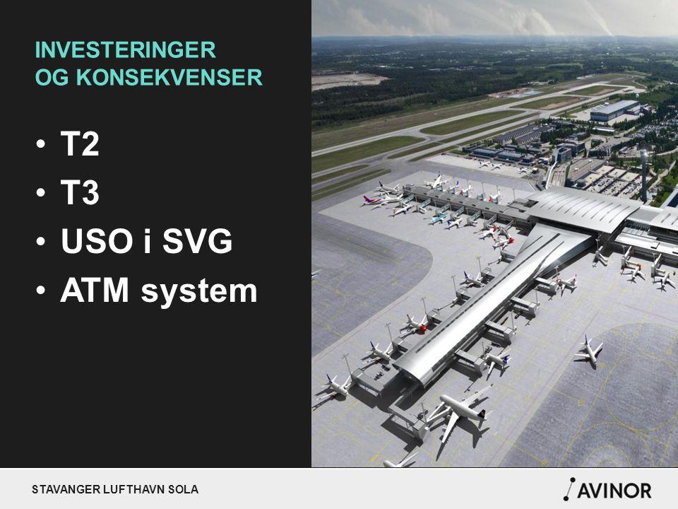 STAVANGER LUFTHAVN SOLA INVESTERINGER OG KONSEKVENSER T2 T3 USO i SVG ATM system