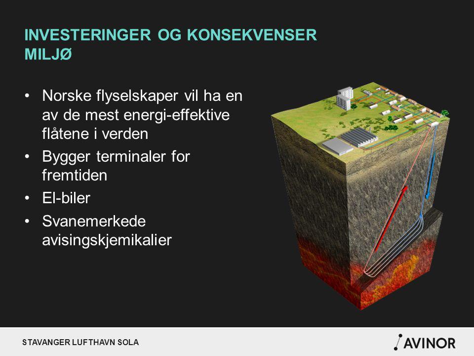 STAVANGER LUFTHAVN SOLA INVESTERINGER OG KONSEKVENSER MILJØ Norske flyselskaper vil ha en av de mest energi-effektive flåtene i verden Bygger terminaler for fremtiden El-biler Svanemerkede avisingskjemikalier